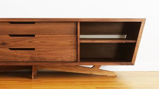 How To Build Mid Century Modern TV Stand, Credenza, Media Console | Woodworking
