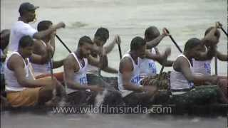 Teams rowing in high spirits at the Nehru Trophy Boat Race, Kerala