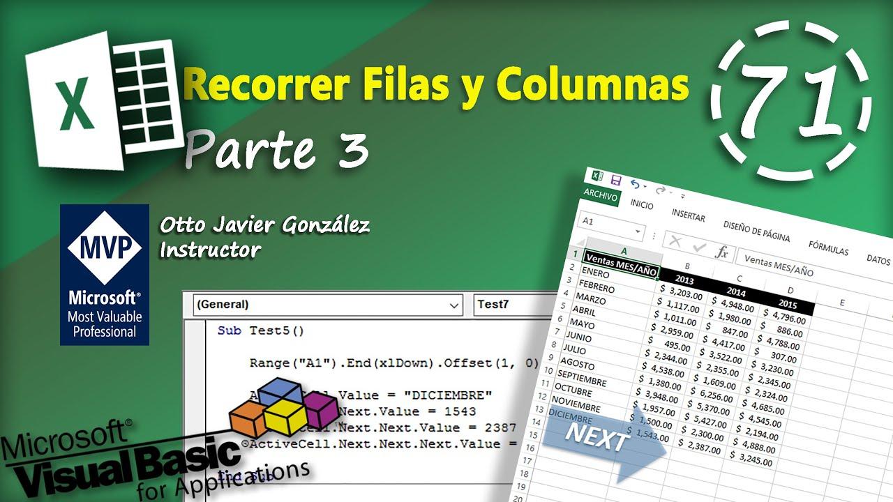 Recorrer Filas Y Columnas Parte 4 Vba Excel 2016 72 Youtube