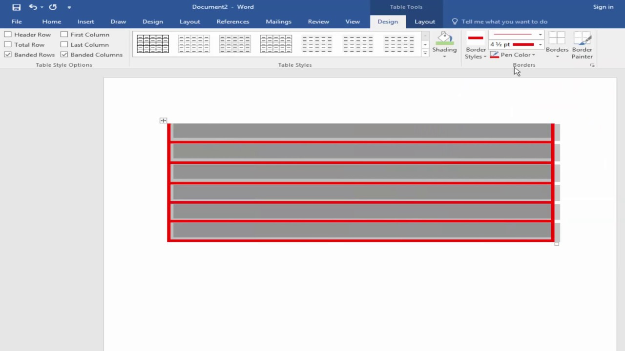 How To Add Or Change Table Border Color And Shading Color In Microsoft Word 2017 Youtube