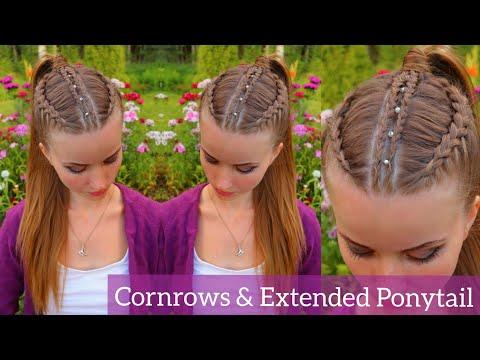 Dutch Braid Cornrows & Extended Ponytail | Cornrow Hairstyles | How to Braid Own Hair