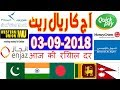 Today Saudi Riyal Currency Exchange Rates - 3 Sep 2018 | India | Pakistan | Bangladesh | Nepal