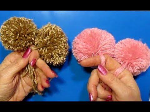 Супер-быстрый помпон пышный. Как сделать помпон для шапки своими руками?Поделки из ниток пряжи.
