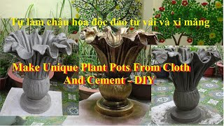 Making a Beautiful Plant Pot With Cloth and Cement - Ideas Making Cement Flower Pots At Home For You