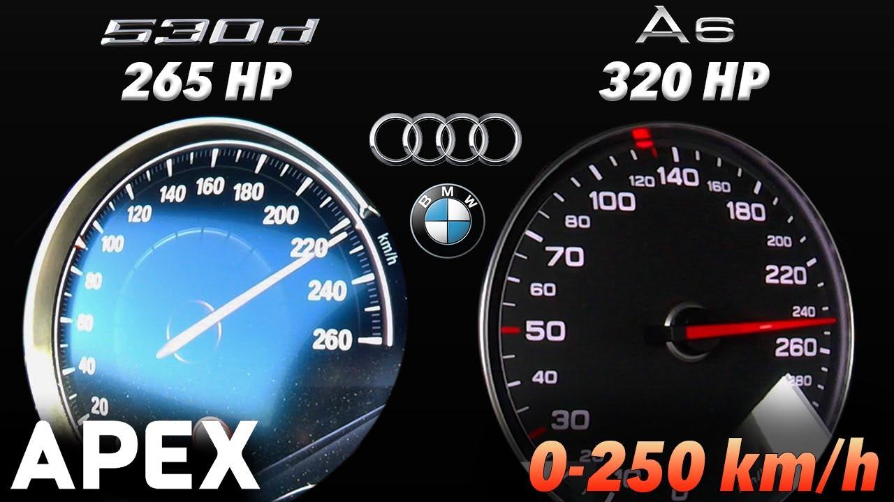 2019 BMW 530d 265 HP vs. 2015 Audi A6 BiTDI 320 HP - Acceleration Sound 0-100, 0-250 km/h | APEX