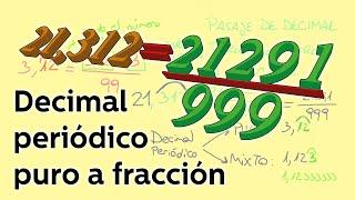 Pasar de decimal periódico puro a fracción. - Aritmética - Educatina