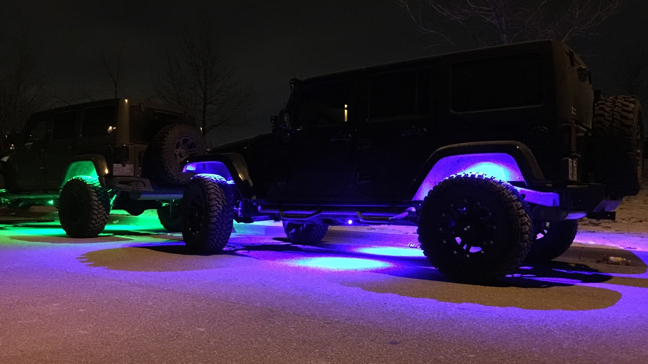 Blacked Out Jeep >> LED Jeep Wrangler Accessories - Rock Lights, Halo's, Lightbars and MORE!!! - YouTube