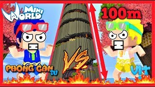 Phong Cận và Mr. vịt thi parkour lên thiên đàng | Thử thách chơi map cao nhất thế giới mini world