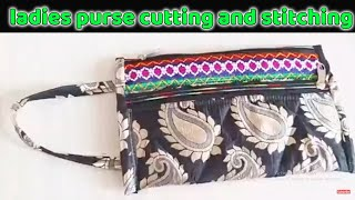 ladies purse cutting and stitching | How to make Ladies purse