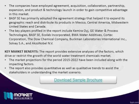 World Water Treatment Chemicals Market to grow further at a CAGR of 4.5% during 2016-2022