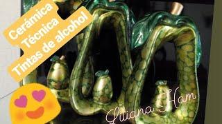 Gambar cover #como pintar ceramica #peras decorativas CERAMICA técnica tintas con halos Peras de centro de mesa