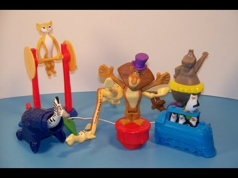 2012 MADAGASCAR 3 SET OF 6 McDONALD'S HAPPY MEAL MOVIE TOY'S VIDEO REVIEW