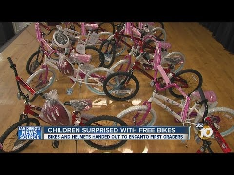 Students at Encanto Elementary School surprised with free bicycles for Christmas