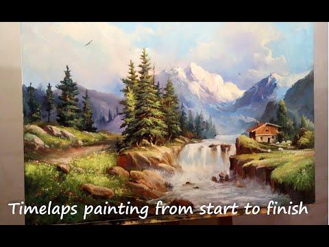 #34 Как НАРИСОВАТЬ ГОРНЫЙ ПЕЙЗАЖ. Пишем горы маслом