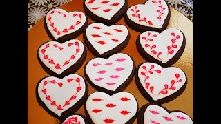 Шоколадное песочное печенье ВАЛЕНТИНКИ рецепт БЕЛКОВОЙ глазури МК по простому и быстрому украшению