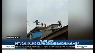 Aksi Pengerjaran Polisi dan Bandar Narkoba di Atap Rumah
