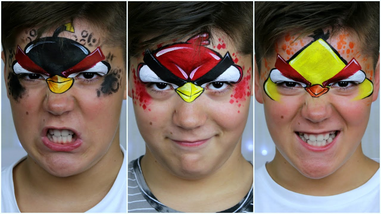 Red Angry Bird Face Paint
