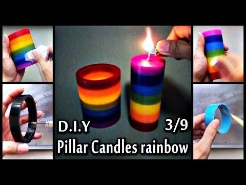 D.I.Y Pillar Candles rainbow 3/9