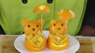 Orange Bears- Fruit Carving