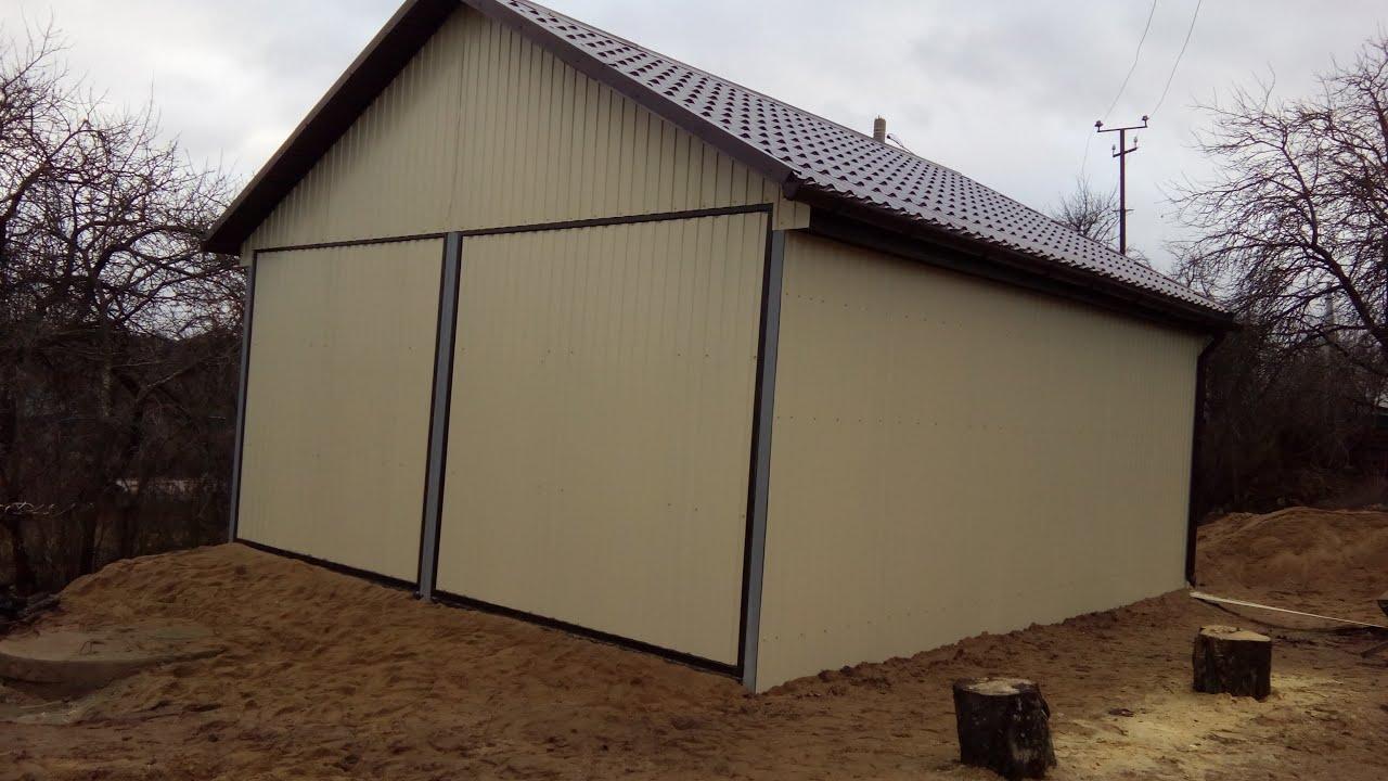 Ворота для гаража своими руками с металлопрофилем