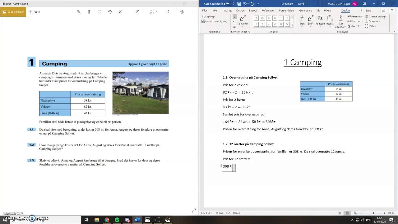 Kulsbjergskolen - Opsætning af dokument til problemløsning