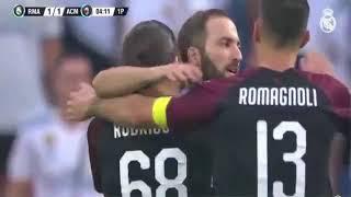 اهداف مباراة ريال مدريد وميلان 2 - 1 | كاس سنتياجو برنابيو