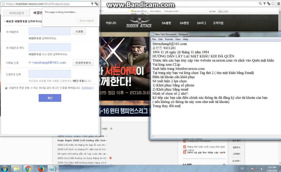 HƯỚNG DẪN KHÔI PHỤC MẬT KHẨU TÀI KHOẢN NEXON KOREA BY KHANG LUÂN
