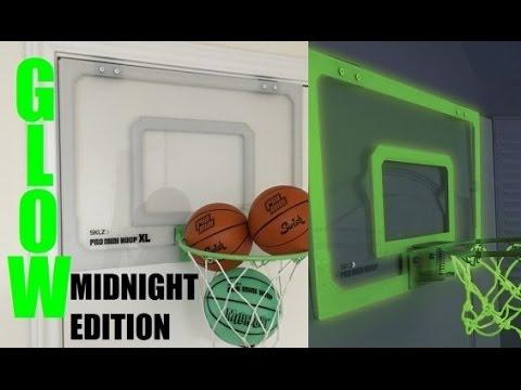 SKLZ Pro Mini Basketball Hoop Midnight XL GLOW in the DARK Review!