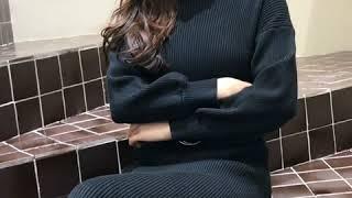 韓系時尚高領毛衣寬松針織拼接套裝長袖洋裝 thumbnail