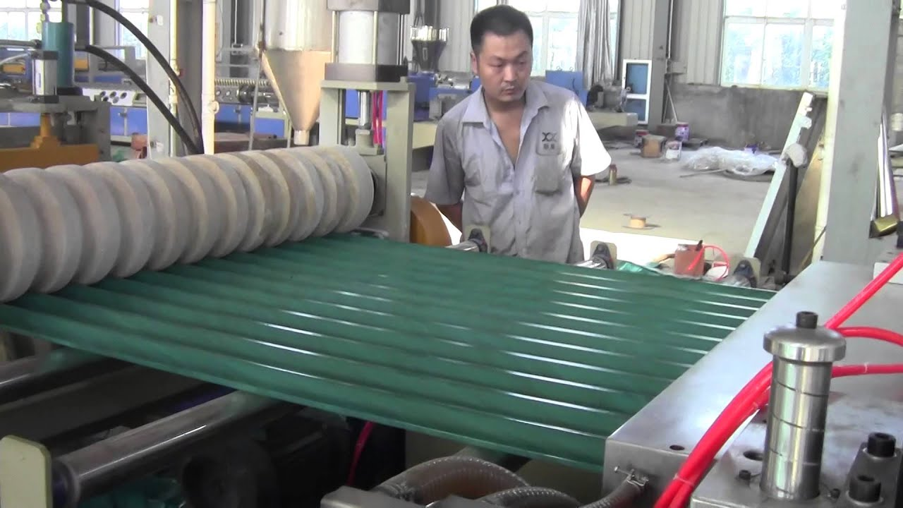 PVC wave corrugated roof sheet extrusion machine - YouTube