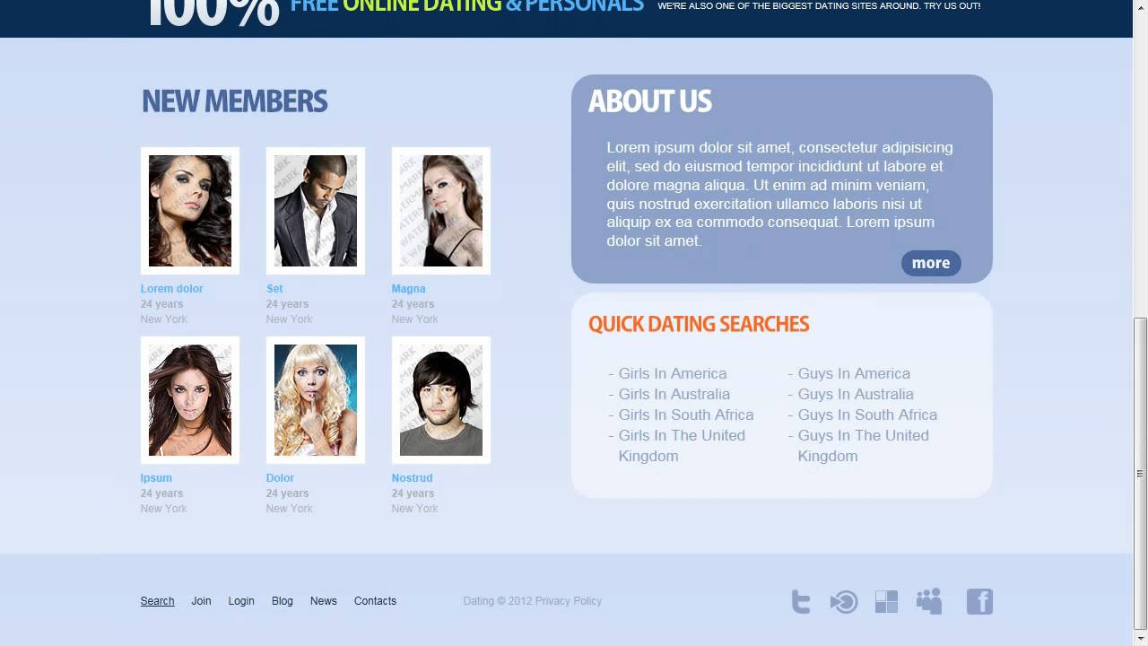 Dating Website Template Youtube