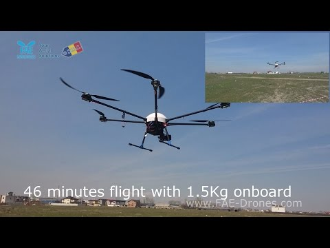 1.5 Kg payload -46 minutes flight with hexarotor Daedalus by FAE