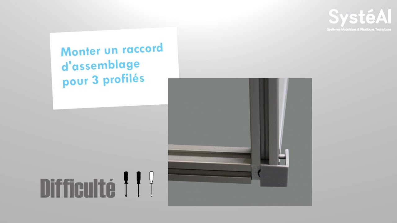 assemblage de trois profil s aluminium par raccord d 39 angle syst al youtube. Black Bedroom Furniture Sets. Home Design Ideas