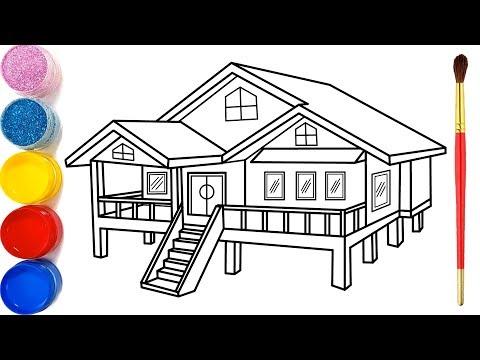 Vẽ ngôi nhà 3D đơn giản và tô màu cho bé | Dạy bé vẽ | Dạy bé tô màu | Rumah Halaman Mewarnai