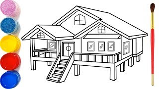 Gambar cover Vẽ ngôi nhà 3D đơn giản và tô màu cho bé | Dạy bé vẽ | Dạy bé tô màu | Rumah Halaman Mewarnai