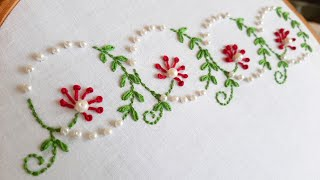 Simple Floral Border Design with Beads (Hand Embroidery Work)