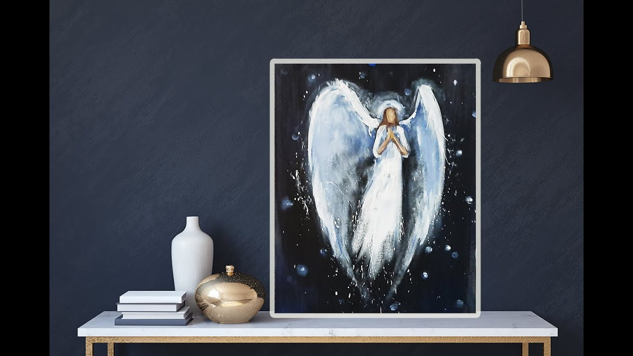 Simple Angel Easy Acrylic Painting For Beginner Step By Step Mariarthome Youtube