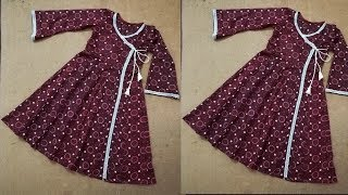Angrakha kalidar frock style kurti with side slit || using only a shirt piece