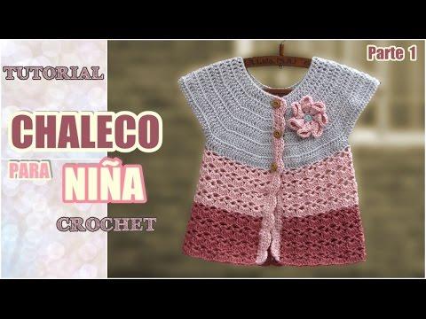 Chaleco para niña tejido a crochet (1 de 2) - YouTube