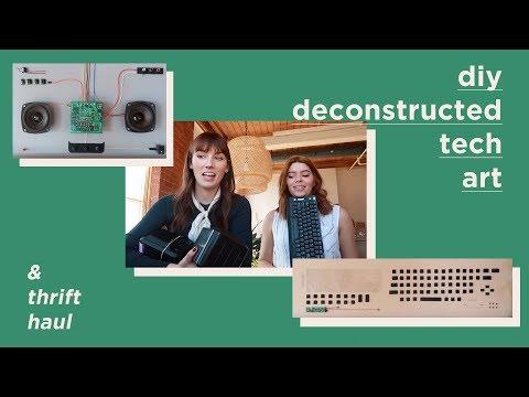 DIY DECONSTRUCTED TECH ART (and thrift haul)
