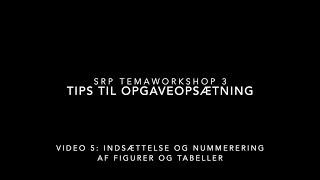 SRP Video 5: Indsættelse og nummerering af figurer og tabeller