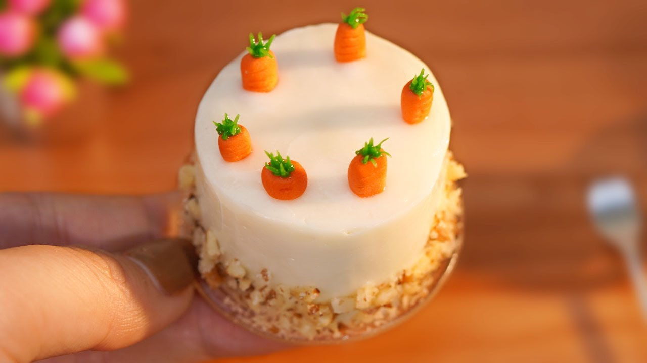 Miniature Carrot Cake | So Tasty Miniature Cake Decorating | Tiny Cakes