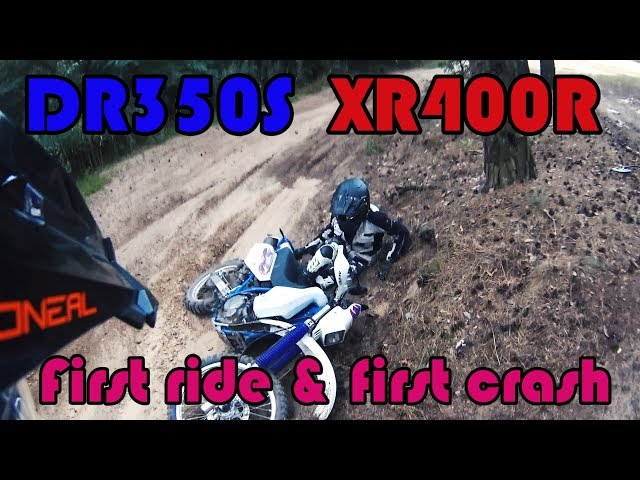 Girl first time rides DR350 offroad. Crash included :D