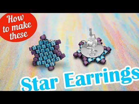 How to make this Star Studz earrings | Miyuki Delica Seed beads design