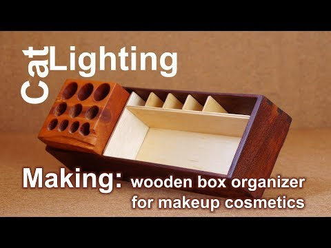 DIY box organizer for makeup cosmetics - making from scrap wood, plywood and firewood