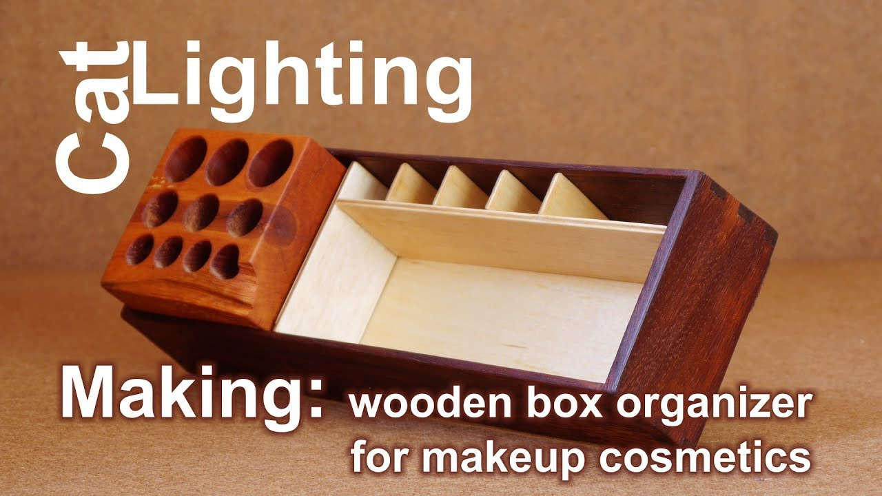 DIY box organizer for makeup cosmetics making from scrap wood
