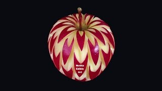 Repeat youtube video July Apple Flower Style - Intermediate Lesson 15 By Mutita Thai Art Of Fruit And Vegetable Carving
