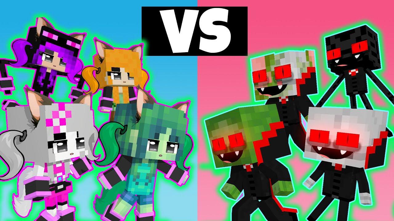 BOYS vs GIRLS - WEREWOLF vs VAMPIRE Challenge Horror Minecraft ANIMATION