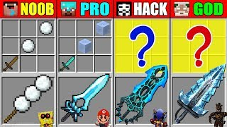 Minecraft NOOB vs PRO vs HACKER vs GOD SUPER FROZEN SWORD CRAFTING CHALLENGE in Minecraft Animation
