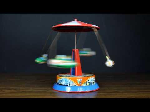 Vintage German Tin Toy Wind Up  Carousel 1950s